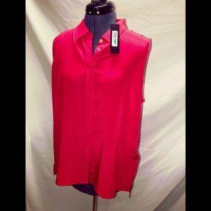 Donna Karen Electric Summer Silk blouse Large NWT